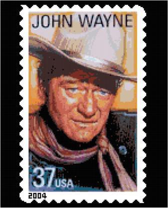 John Wayne Stamp Cross Stitch Pattern