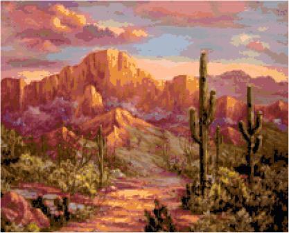 Southwest Sunset Cross Stitch Pattern