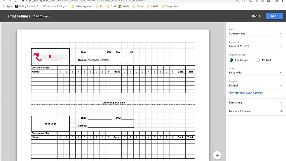 Disc Golf Scorecard - Excel file