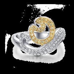 天然黃白鑽彌猴戒指 LDTSR0164