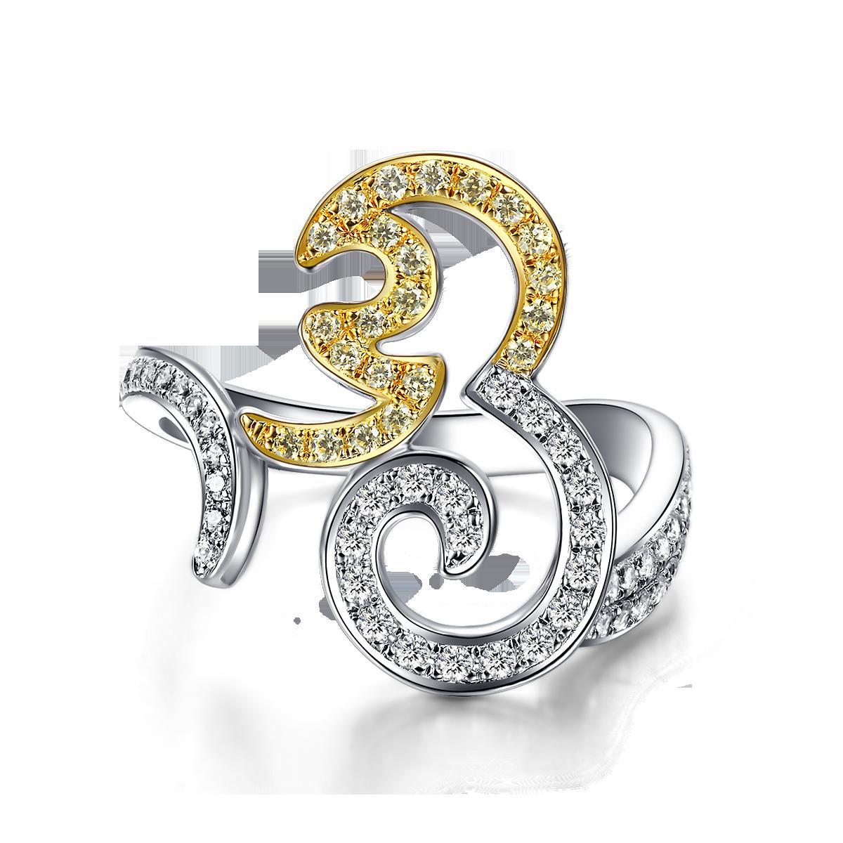 天然黃白鑽彌猴戒指 LDTSR0162