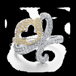 天然黃白鑽彌猴戒指 LDTSR0163