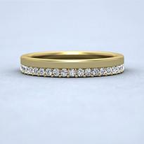 Yellow gold assemetric design diamond set ring.