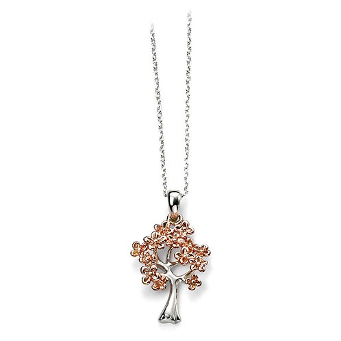 Sterling Silver Tree Pendant With Rose Gold Plated Leaves