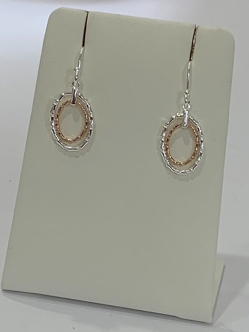 Bamboo Earrings In Silver And Rose Gold Plating