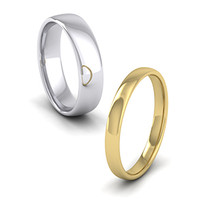 Plain white gold 5mm cushion court and a yellow gold 2.5mm cushion court