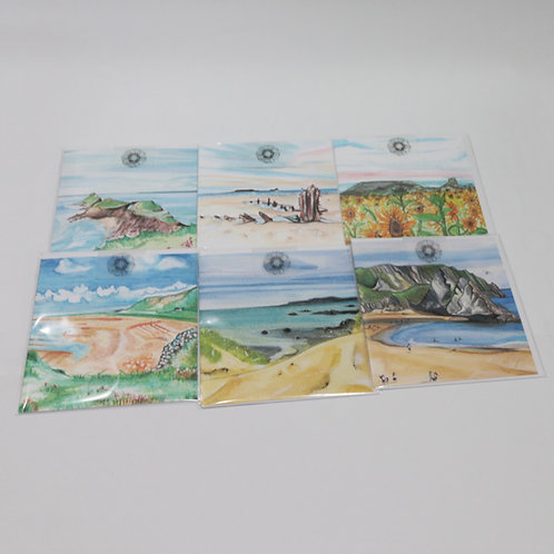 Set Of 6 Rhossili & South Wales Greetings Cards