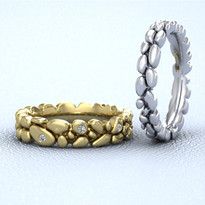 Yellow and white pebble rings.