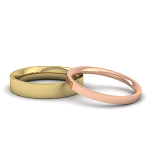 plain yellow gold 4mm flat court and a rose gold 2mm flat court