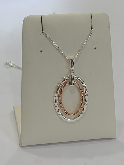Bamboo Pendant In Silver And Rose Gold Plating