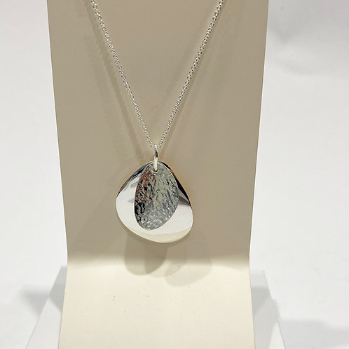 Double Pebble Pendant In Silver
