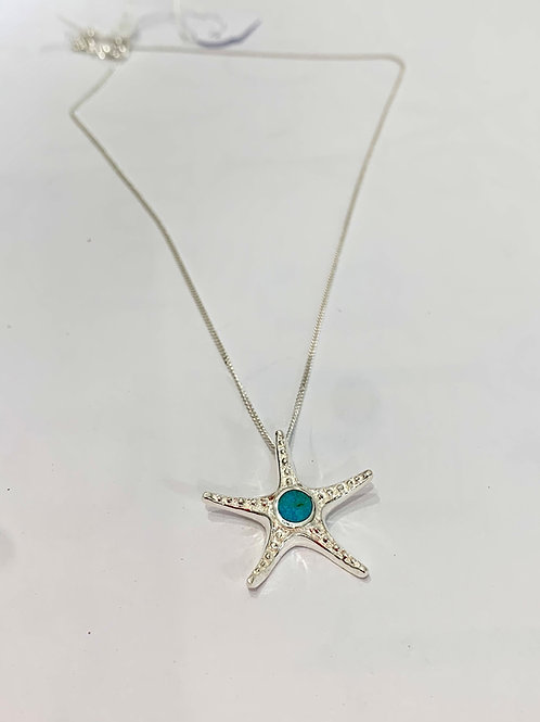 Sterling silver starfish pendant with inlaid turquoise 16- 18' chain