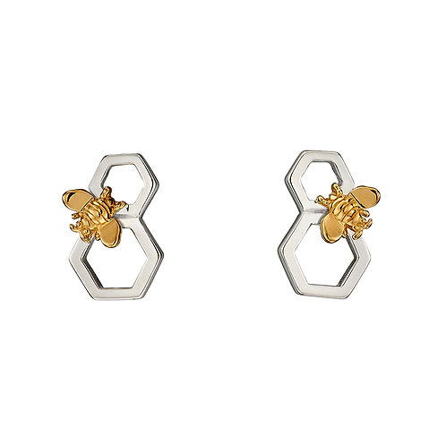 Sterling Silver  Bee Earrings With Yellow Gold Plated Accent