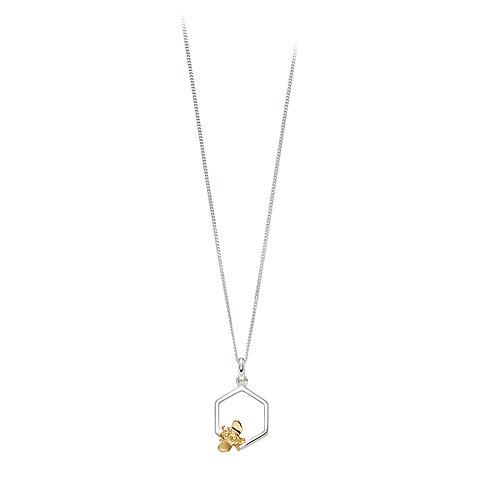 Sterling Silver Bee Pendant With Yellow Gold Plated Accent