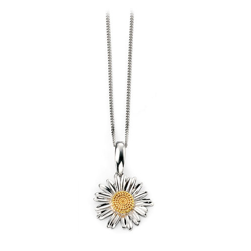 Sterling Silver Delicate Daisy Pendant With Yellow Gold Plated Centre