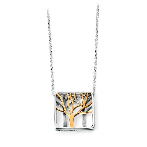 Sterling Silver Square Pendant With Yellow Gold Plating