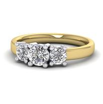 Platinum and yellow gold diamond set three stone engagement ring.