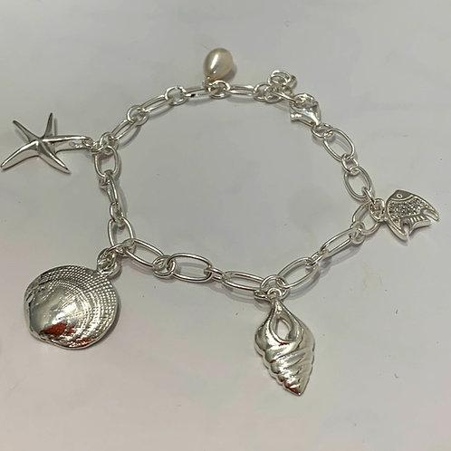 Silver Sealife Charm Bracelet (18-20cm)