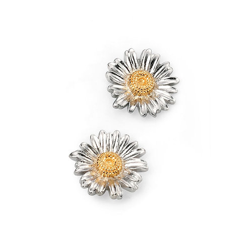 Sterling Silver Delicate Daisy Stud Earrings With A Yellow Gold Plated Centre