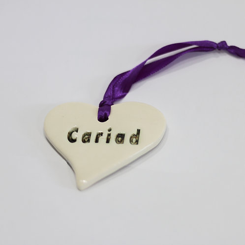 Cariad Hanging Ceramic Heart
