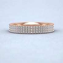 Rose gold bead set diamond ring with three rows.