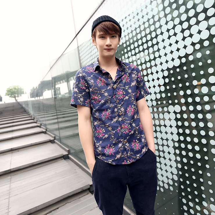New-2013-Korean-slim-vintage-font-b-shirts-b-font-men-s-national-trendy-floral-b