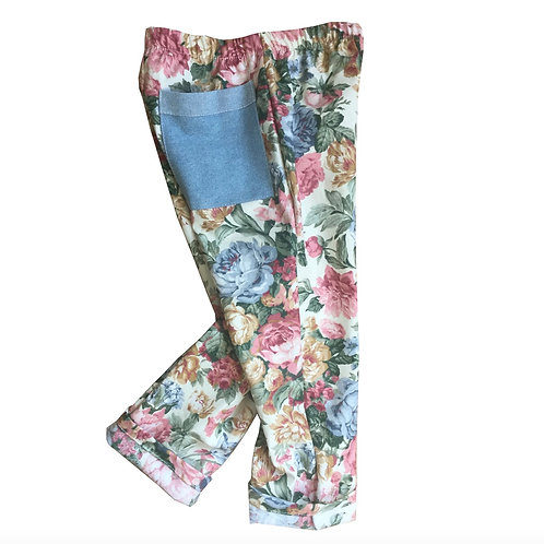 Kids Retro Style Jeans in soft floral print cotton