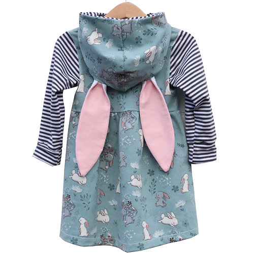 Girls Bunny Dress made in cotton jersey with big hood and cute ears.