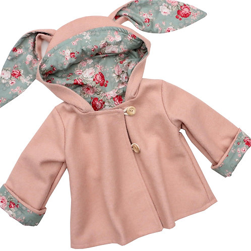 Girls Dusky Pink Bunny Coat in wool, a swing style coat with a large hood