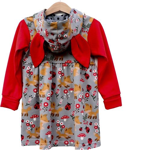 Girls Fox Dress made in cotton jersey with big hood and cute ears.