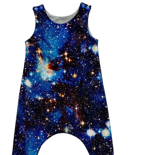 Nebula Baby & Toddler Harem Romper. Intergalactic, space clothing