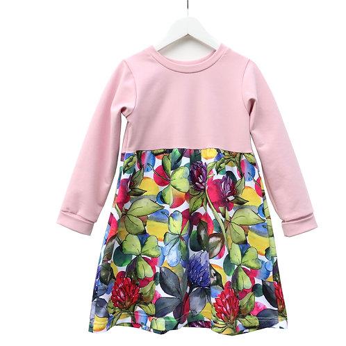 Girls Block Colour jersey dress with stunning Thistle print skirt.