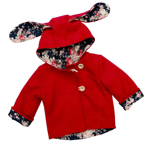Girls Red wool Bunny Coat,  with a large hood and cute bunny ears