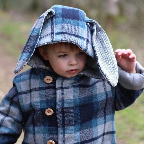 Kids Wool Lumberjack Coat, with a large hood and cute bunny ears
