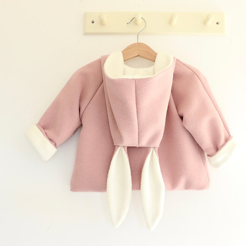 Babies and Todders Bunny Jacket in wool lined with cotton fleece