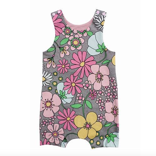Retro Flowers baby Romper, Baby girls short summer Romper