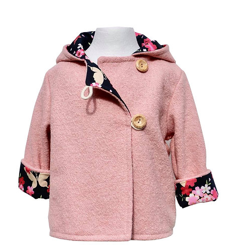 Girls Pink wool Bunny Coat, with a large hood and cute bunny ears