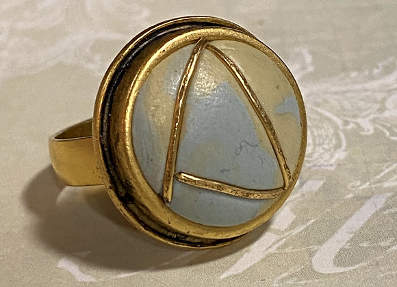 Iridized Periwinkle and Gold Ring