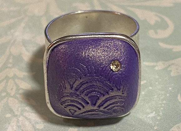 Embossed Purple and Gold Square Ring