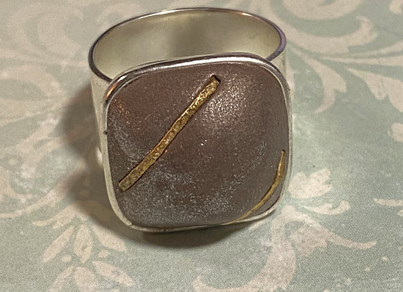 Copper and Gold Square Ring
