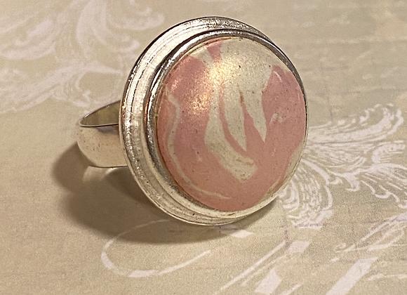 Iridized Pink Swirl Ring