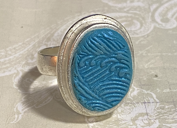 Blue Wave Oval Ring