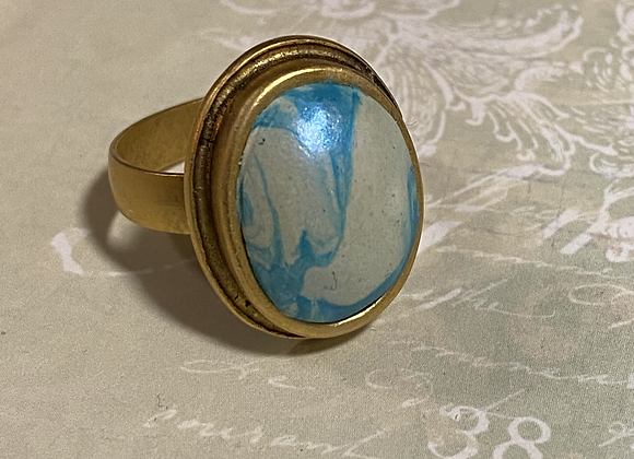 Iridized Blue Swirl Oval Ring