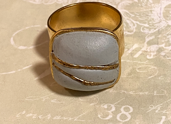 Periwinkle and Gold Square Ring