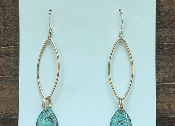 14K Gold filled teardrop with copper patina earrings