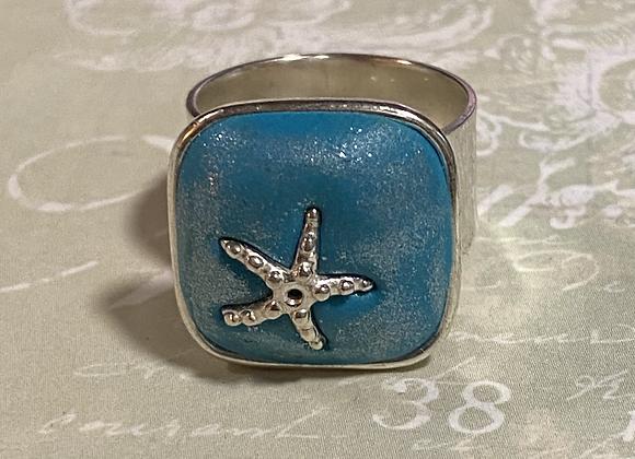 Iridized.Starfish Square Ring