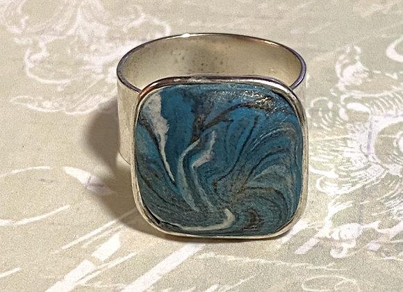 Turquoise Swirl Square Ring