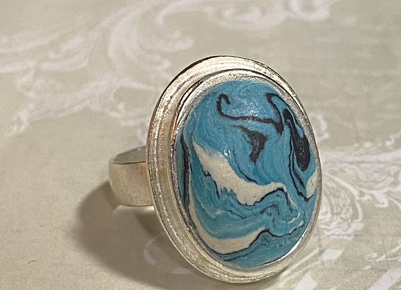 Turquoise Swirl Oval Ring