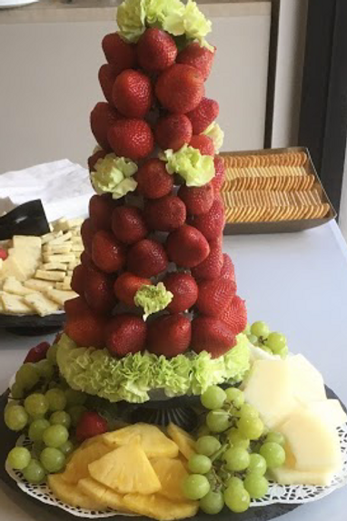 Strawberry Tower with Cheese and crackers