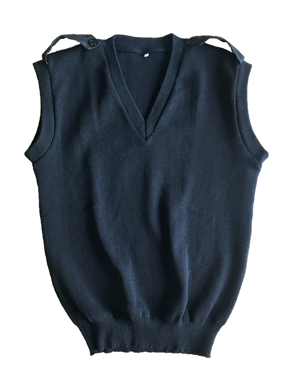Black Sleeveless Pullover with Epaulettes